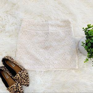 Forever 21 white cream floral lace mini skirt